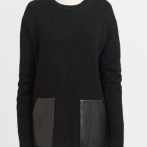 NWOT J. Crew Factory Black Vegan Leather Sweater S